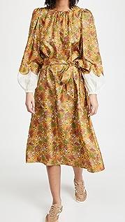 Tory Burch 壁纸花卉印花真丝连衣裙