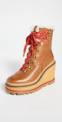 Tory Burch - Hiker Wedge 95mm Shearling Booties