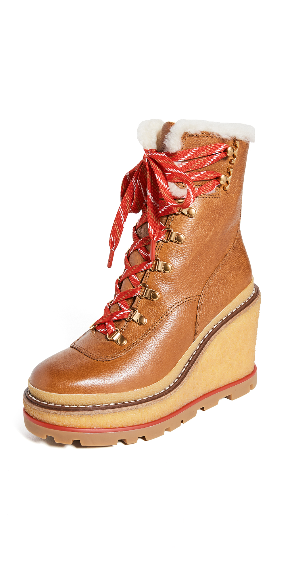Tory Burch Hiker Wedge 95mm Shearling Booties