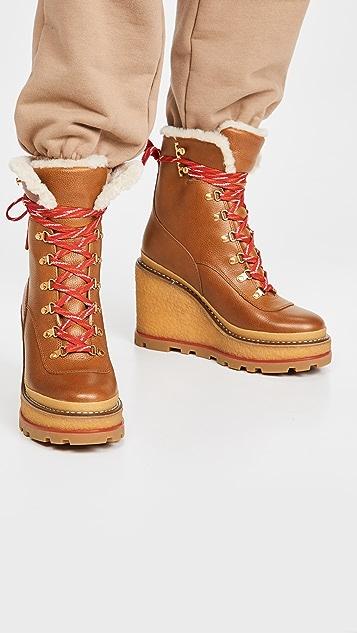 Tory Burch 95mm 连毛羊皮登山坡跟短靴
