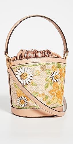 Tory Burch - Robinson Embroidered Straw Bucket Bag