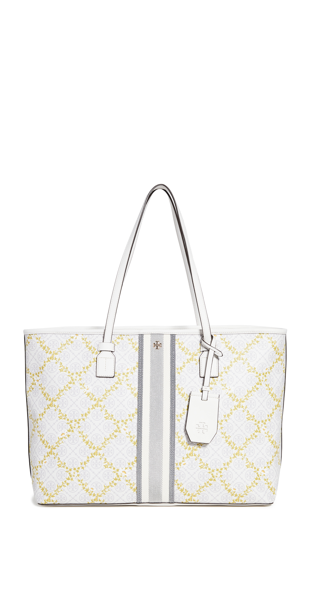 Tory Burch T Monogram Floral Vine Top Zip Tote