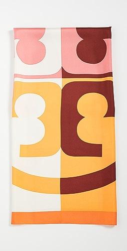 Tory Burch - Colorblock Logo Silk Square Scarf