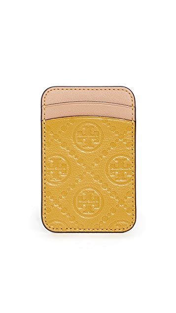 Tory Burch T Monogram Leather Card Phone Pocket