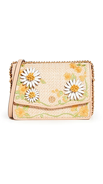 Tory Burch Robinson Embroidered Straw Mini Shoulder