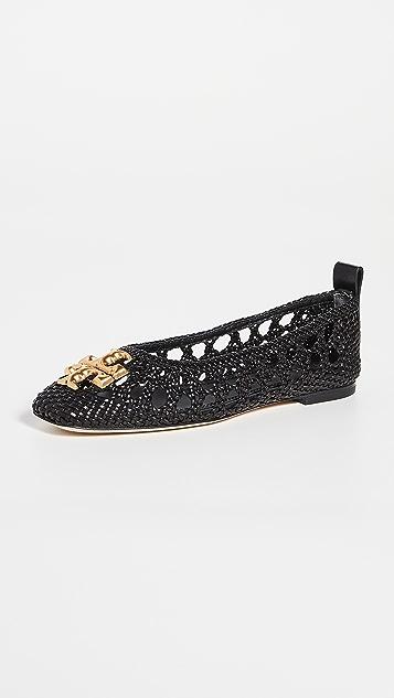 Tory Burch Eleanor 梭织芭蕾舞平底鞋