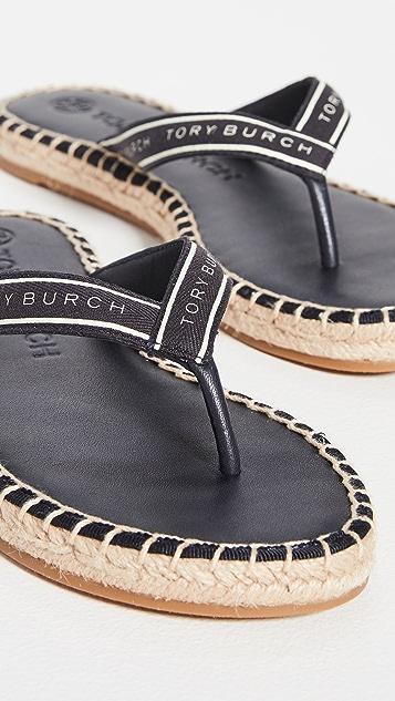 Tory Burch Tory Ribbon 夹趾平底麻编鞋