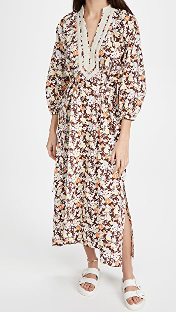 Tory Burch Printed Puffed Sleeve Tunic Dress