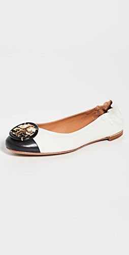 Tory Burch - 多徽标包头芭蕾舞平底鞋