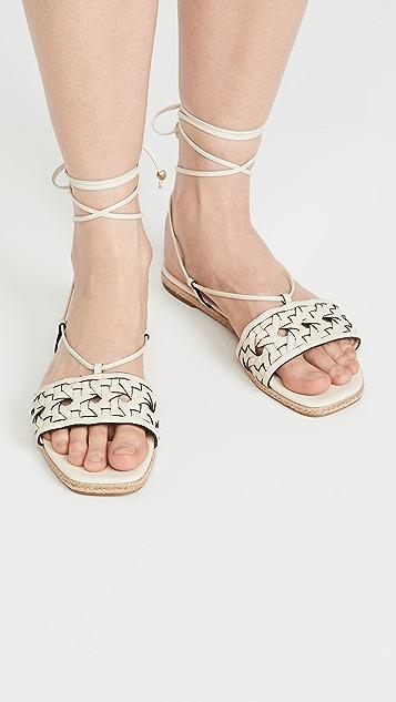 Tory Burch 篮式梭织麻编鞋