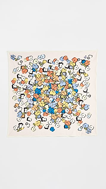 Tory Burch Painted Floral Jersey Neckerchief