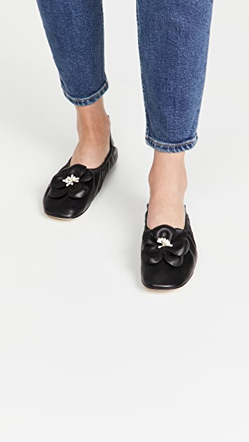 Tory Burch 花朵柔软芭蕾舞平底鞋