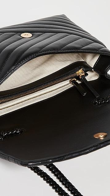Tory Burch Kira Chevron Powder Coated Convertible Shoulder Bag
