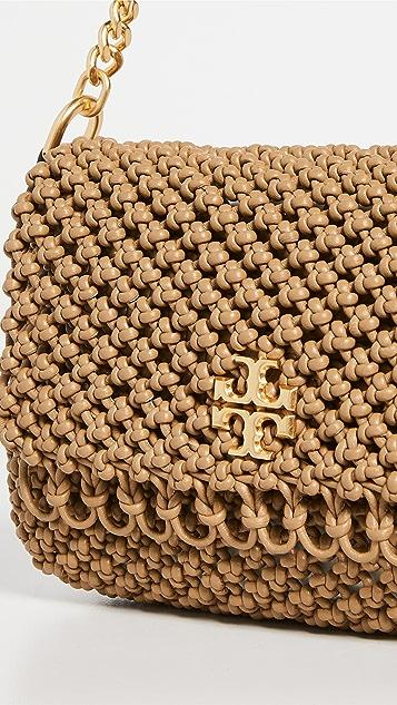 Tory Burch Kira Chevron Macrame Woven Small Shoulder Bag