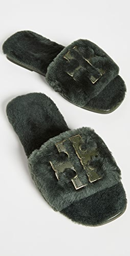 Tory Burch - Double T Shearling Slides