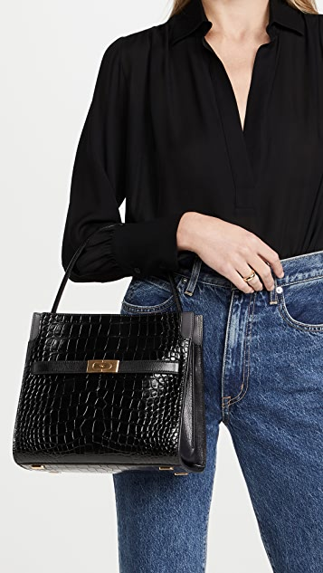 Tory Burch Lee Radziwill Embossed Small Double Bag