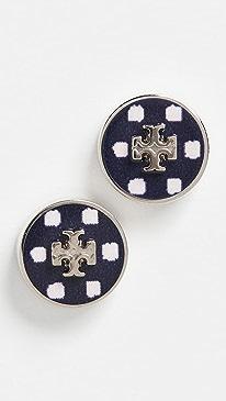 토리버치 귀걸이 Tory Burch Kira Enamel Printed Circle Stud Earrings,Tory Silver/Navy Dot