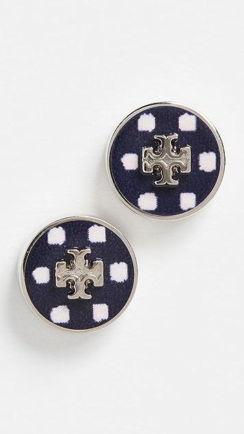 Tory Burch Kira Enamel Printed Circle Stud Earrings