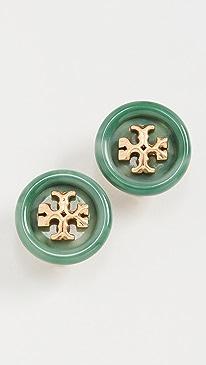 토리버치 귀걸이 Tory Burch Roxanne Button Stud Earrings,Rolled Brass/Green
