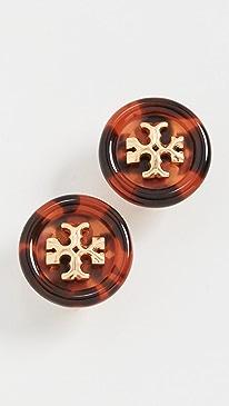토리버치 귀걸이 Tory Burch Roxanne Button Stud Earrings,Rolled Brass/Tortoise