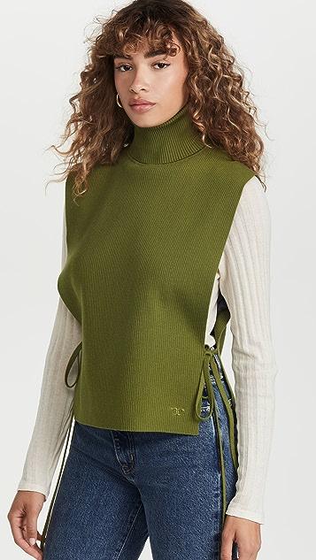 Tory Burch Ribbed Merino Wool Dickey Vest