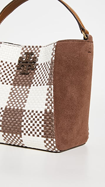 Tory Burch Mcgraw Woven Plaid Small Bucket Bag