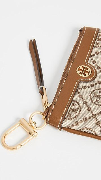 Tory Burch T Monogram Jacquard Card Case Key Fob