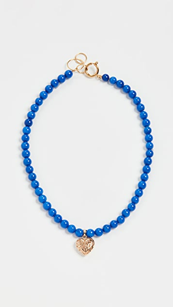 Timeless Pearly Heart Blue Bead Necklace