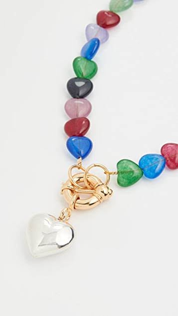 经典珠光 多色心形吊坠项链