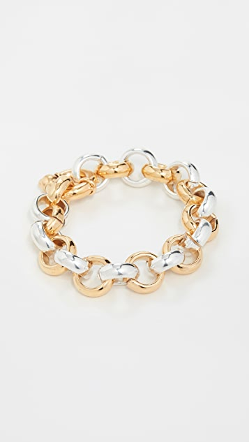 Timeless Pearly Tone Toned Chain Bracelet