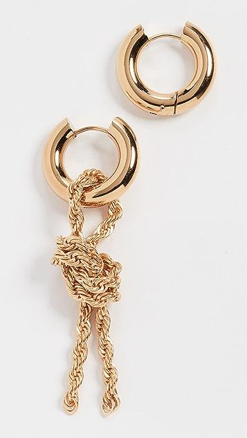 经典珠光 金色链条圈式耳环