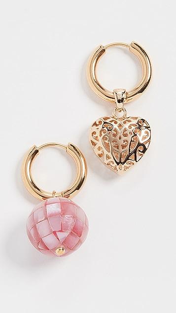 经典珠光 金色心形/粉色圈式耳环