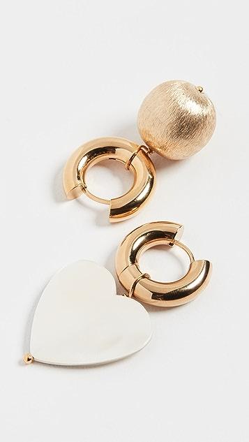 经典珠光 金/珍珠贝母心形圈式耳环