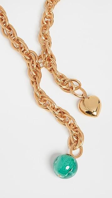 经典珠光 金色心形和绿色球形项链
