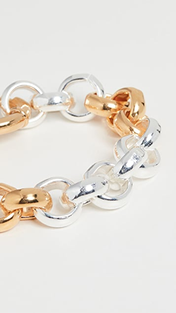 Timeless Pearly Two Tone Chain Bracelet