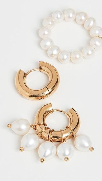 经典珠光 珍珠金圈式耳环