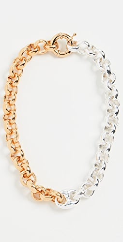 Timeless Pearly - Chunky Bicolor Silver and Gold Chain Necklace