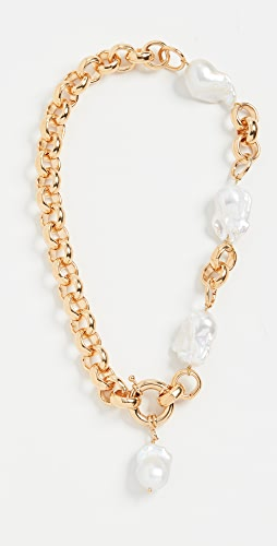 Timeless Pearly - Chunky 24k Gold Plated Chain Necklace