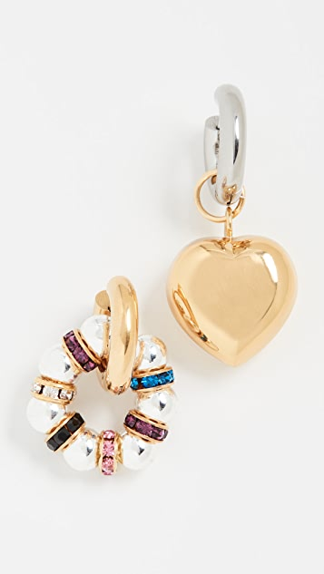 Timeless Pearly Silver Gold Heart Hoops