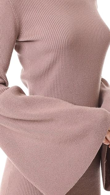 ThePerfext Bell Sleeve Cashmere Dress
