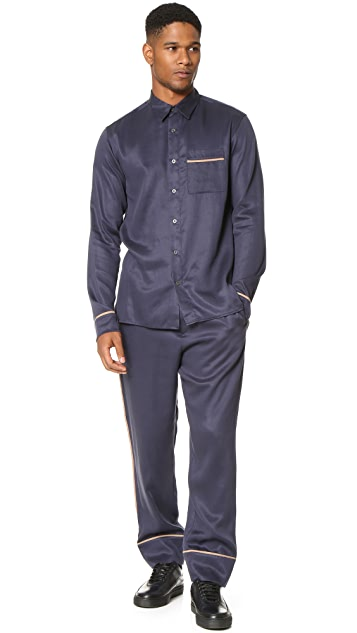 3.1 Phillip Lim Long Sleeve Pajama Piping Shirt