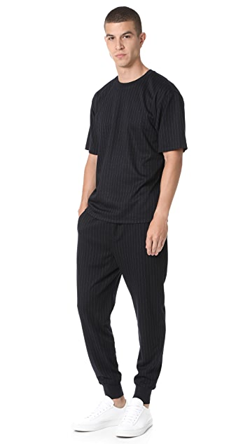 3.1 Phillip Lim Short Sleeve Pinstripe Cut Tee