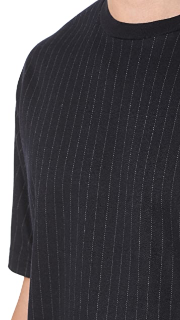 3.1 Phillip Lim Short Sleeve Pinstripe Cut Tee