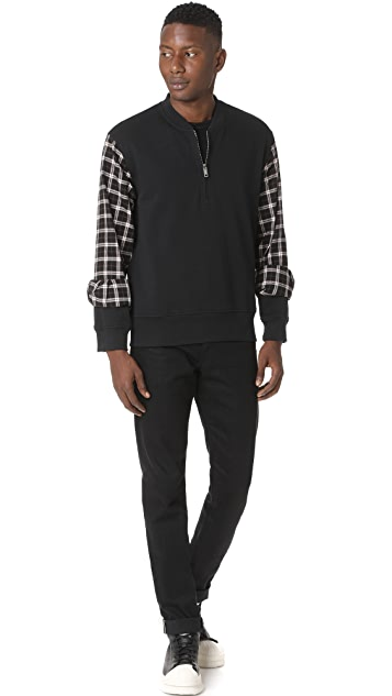 3.1 Phillip Lim Henley Sweatshirt with Flannel Over Sleeves
