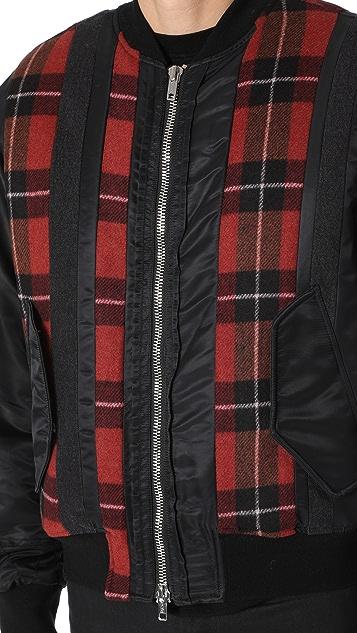 3.1 Phillip Lim Flannel Stripe Panel MA-1 Bomber Jacket
