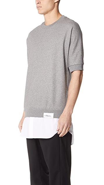 3.1 Phillip Lim Short Sleeve Sweatshirt with Poplin Tail