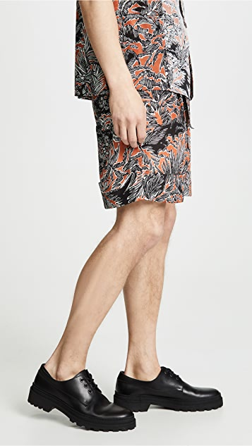 3.1 Phillip Lim Cuffed Pleated Printed Shorts with Twist Belt