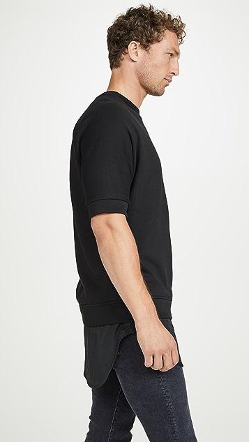 3.1 Phillip Lim Short Sleeve Sweatshirt with Poplin Shirttail Hem
