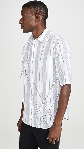 3.1 Phillip Lim Argyle Patchwork Short Sleeve Shirt