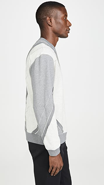 3.1 Phillip Lim Argyle Patchwork Crew Neck Sweater